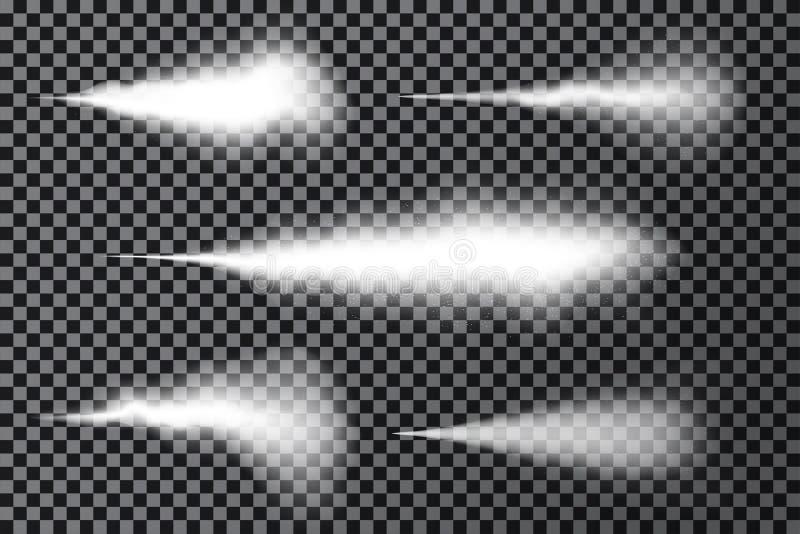 Effet de jet d'eau, fumée blanche ou brume d'isolement sur le fond transparent Effet de brouillard de pulvérisateur avec la pouss illustration stock