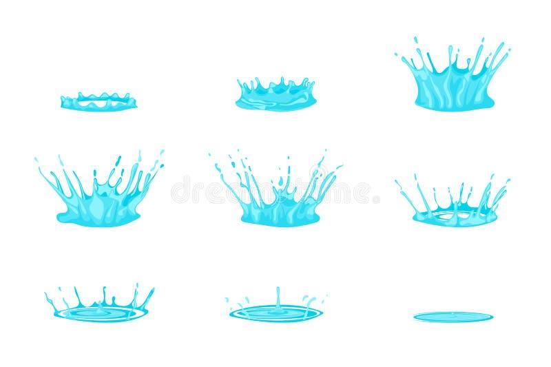 Effet de l'eau d'égoutture de bande dessinée réglé sur un blanc Vecteur illustration de vecteur