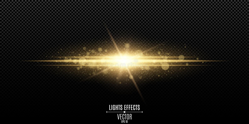 Effet de la lumière élégant magique abstrait sur un fond transparent Éclair d'or Bokeh lumineux de la poussière et d'éclats Illus illustration libre de droits