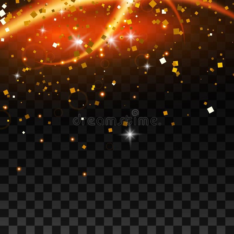 Effet de la lumière avec les lignes et les étincelles onduleuses rougeoyantes d'or d'isolement sur l'effet spécial transparent Il illustration stock
