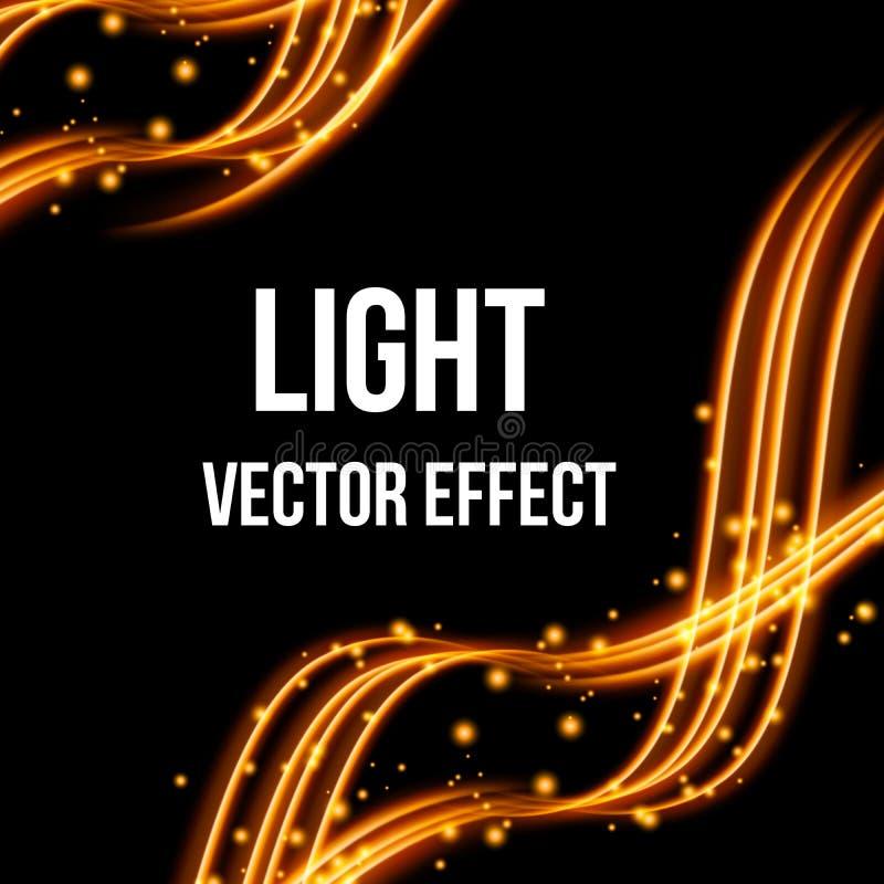 Effet de la lumière avec les lignes onduleuses rougeoyantes d'or et l'effet spécial d'étincelles Illustration de vecteur illustration libre de droits