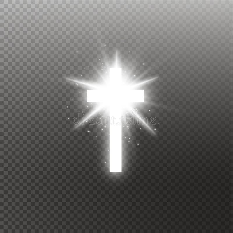 Effet de la lumière blanc brillant de fusée spéciale de lentille de croix et de lumière du soleil sur le fond transparent Croix r illustration de vecteur