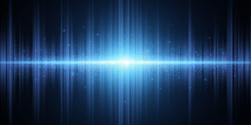 Effet de la lumière bleu de résumé sur un fond foncé ?galiseur rougeoyant Fond pour la radio, club, partie Vibration de lumi?re illustration libre de droits