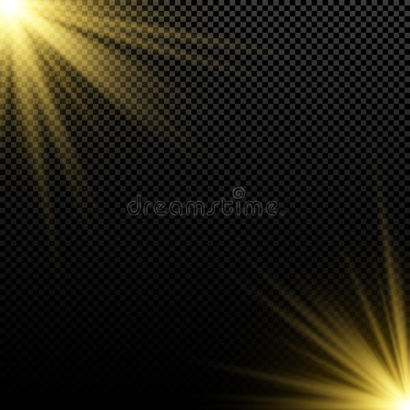 Effet de la lumière d'or sur le fond foncé Épanouissements lumineux Rayons d'or Explosion magique sunlight Lumière de Noël Illust illustration libre de droits