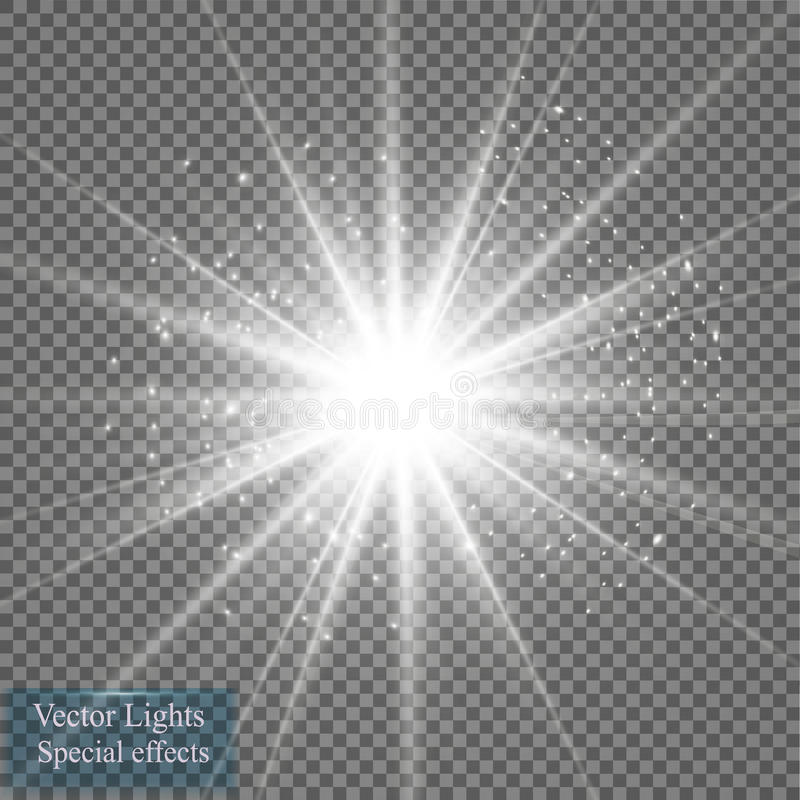 Effet de la lumière de lueur Éclat d'étoile avec des étincelles Illustration de vecteur Sun illustration stock