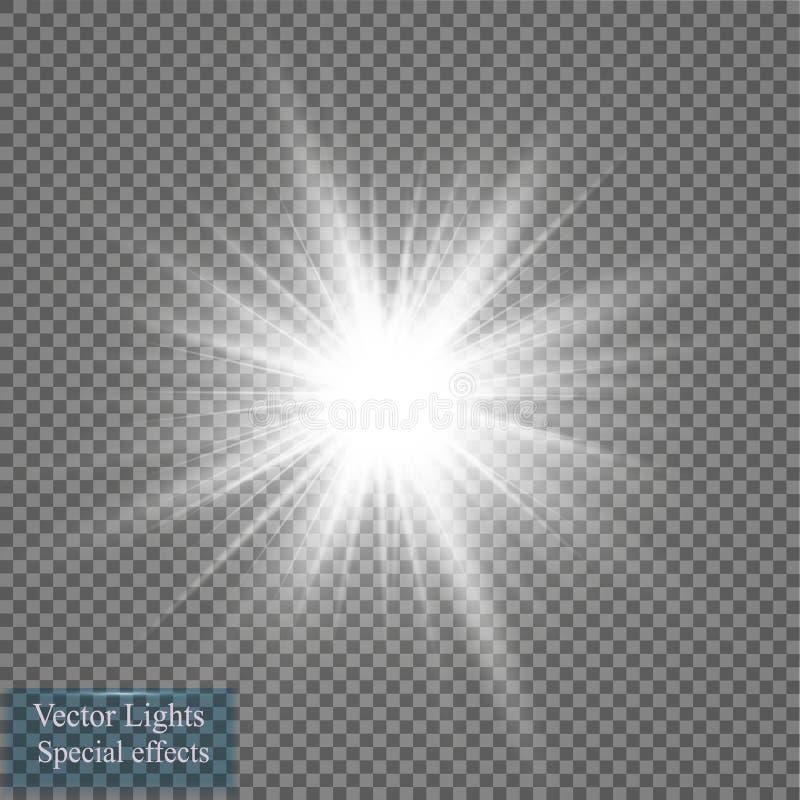 Effet de la lumière de lueur Éclat d'étoile avec des étincelles Illustration de vecteur Sun illustration de vecteur
