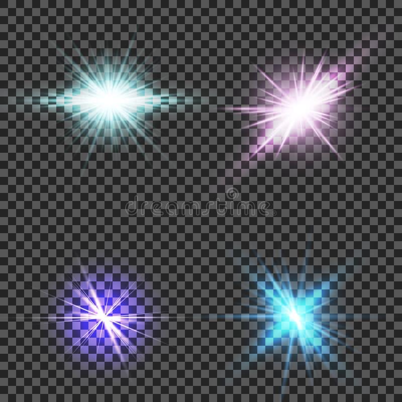 Effet de la lumière de lueur Éclat d'étoile avec des étincelles Sun illustration stock