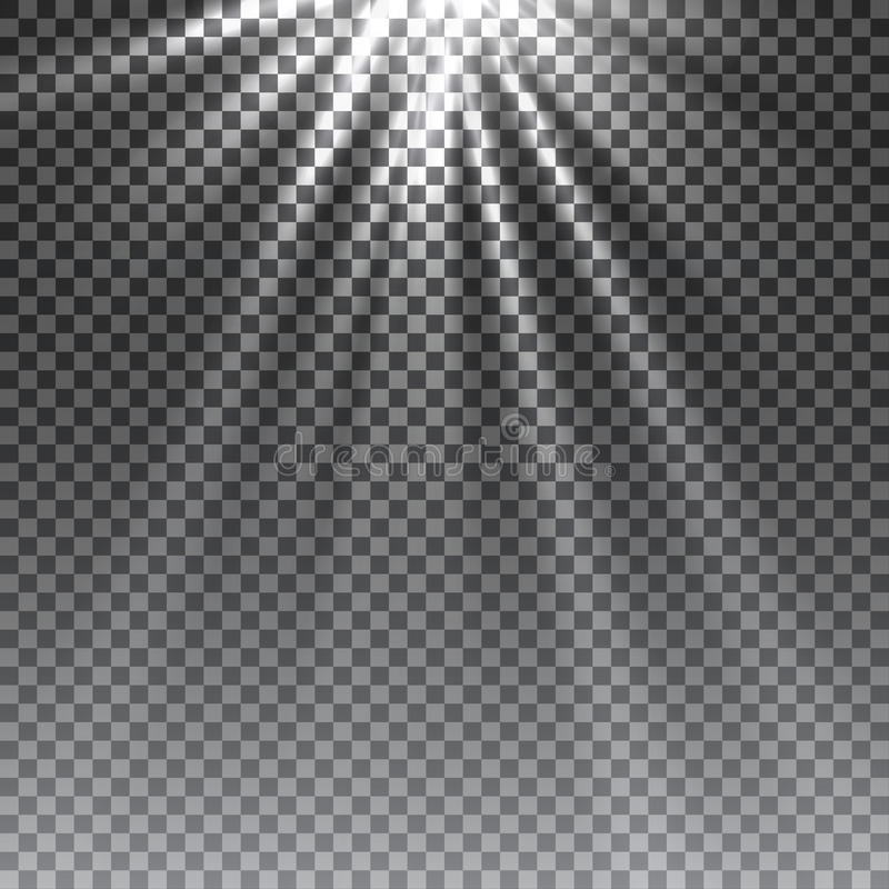 Effet de la lumière de lumière du soleil de vecteur de fusée spéciale transparente de lentille illustration de vecteur