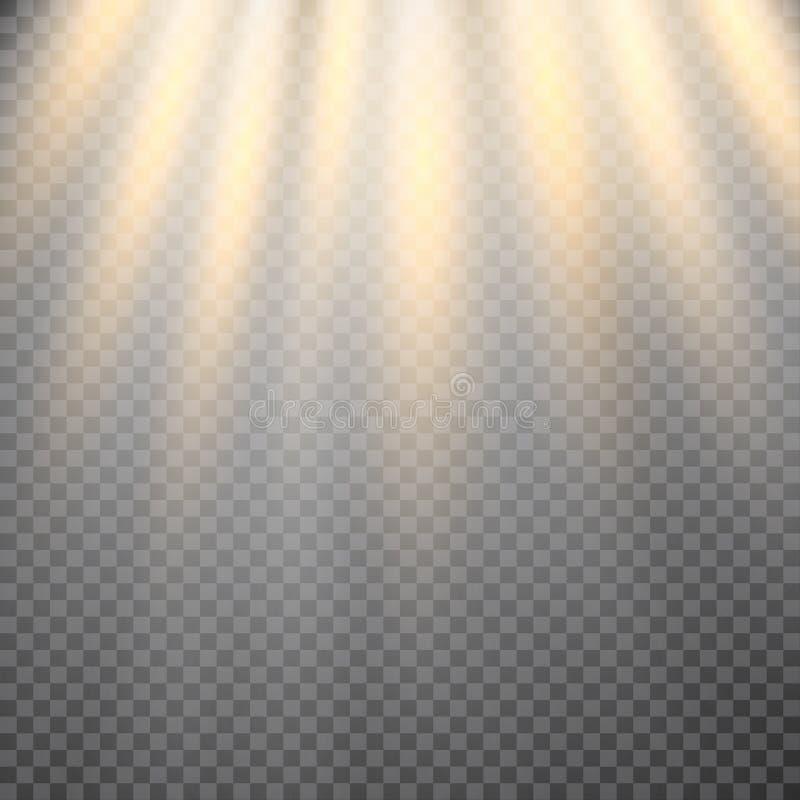 Effet de la lumière de lumière du soleil de vecteur de fusée spéciale transparente de lentille illustration stock