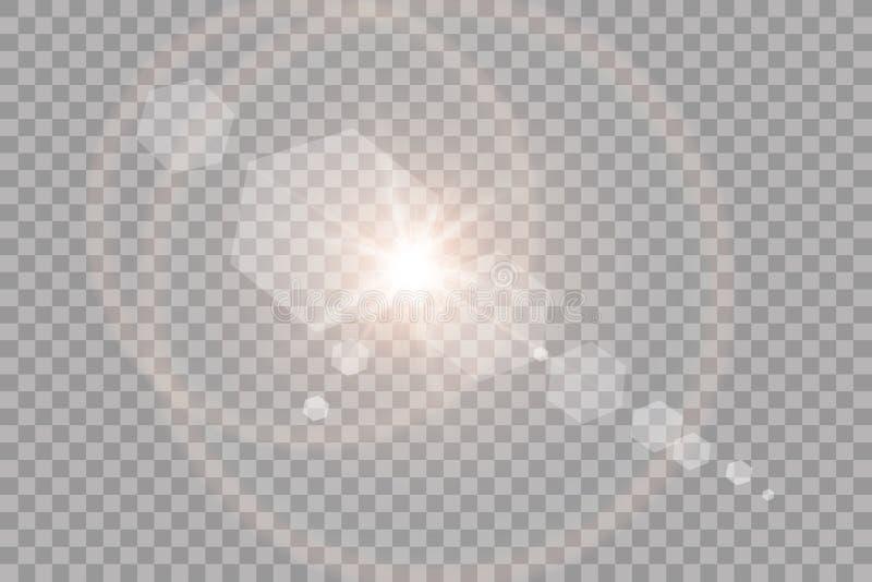 Effet de la lumière de lumière du soleil de vecteur de fusée spéciale transparente de lentille Éclair de Sun avec les rayons et l images libres de droits