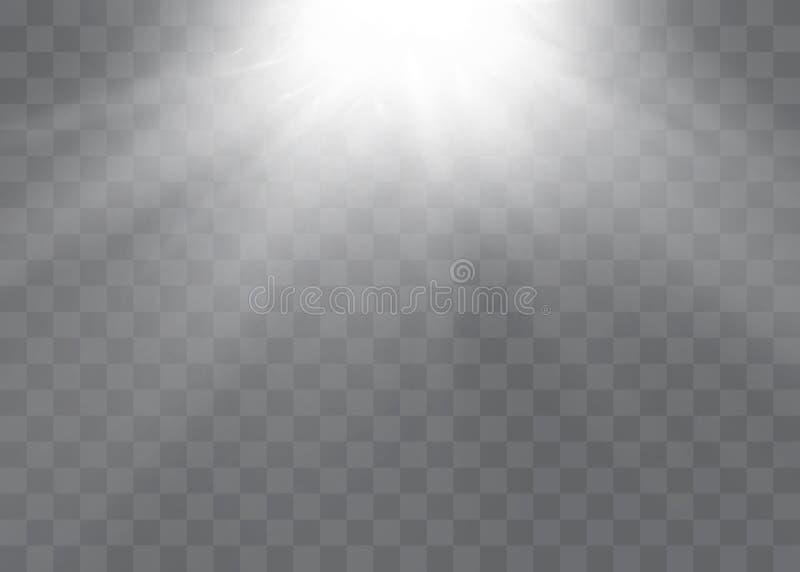 Effet de la lumière de lumière du soleil de vecteur de fusée spéciale transparente de lentille Modèle abstrait de Noël Particules illustration stock