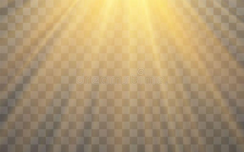 Effet de la lumi?re instantan? de lentille sp?ciale de lumi?re du soleil sur le fond transparent Effet de brouiller la lumi?re Il illustration de vecteur