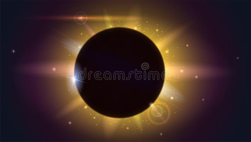 Effet de la lumière de lueur Éclat d'étoile avec des étincelles Éclipse solaire, phénomène astronomique - pleine éclipse du solei illustration stock