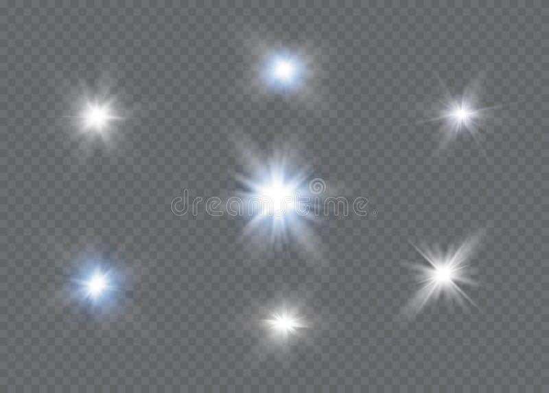 Effet de la lumière de lueur Éclat d'étoile avec des étincelles Sun illustration libre de droits