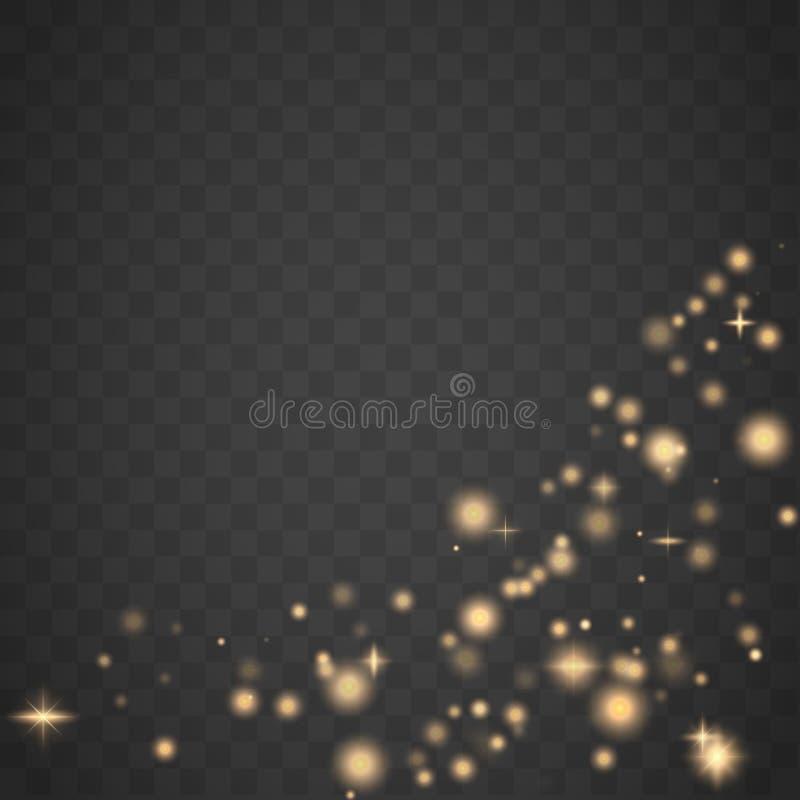 Effet de la lumière de lueur La poussière d'étincelle d'or illustration stock