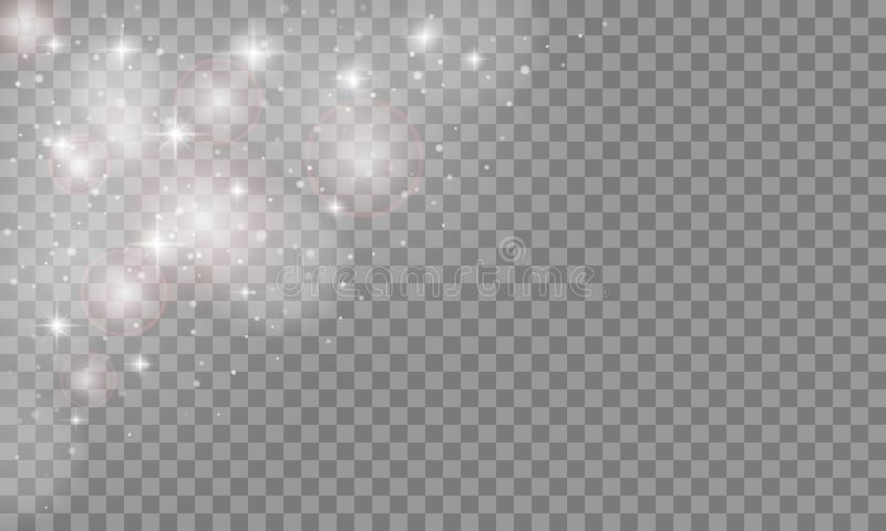 Effet de la lumière de lueur réglée d'isolement sur le fond transparent Éclair de Sun ou éclat d'étoile avec des étincelles Illus illustration de vecteur
