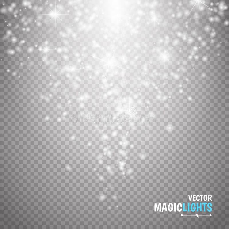 Effet de la lumière magique La lumière, la fusée, l'étoile et l'éclat d'effet spécial de lueur étincellent illustration libre de droits