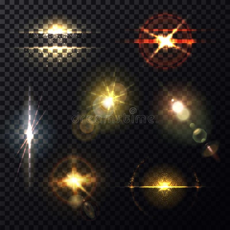 Effet de la lumière par la lentille, fond morne de lumière du soleil illustration de vecteur