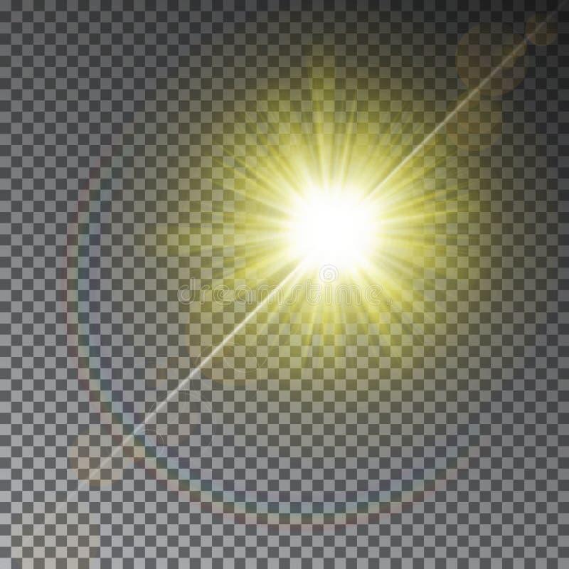 Effet de la lumière de rayon jaune du soleil avec l'arc-en-ciel d'isolement sur le fond transparent Étoile brillante chaude sur l illustration de vecteur