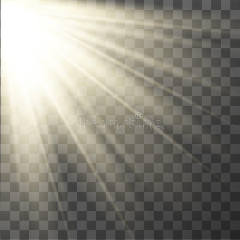 Effet de la lumière Rayons du soleil de vecteur photo stock