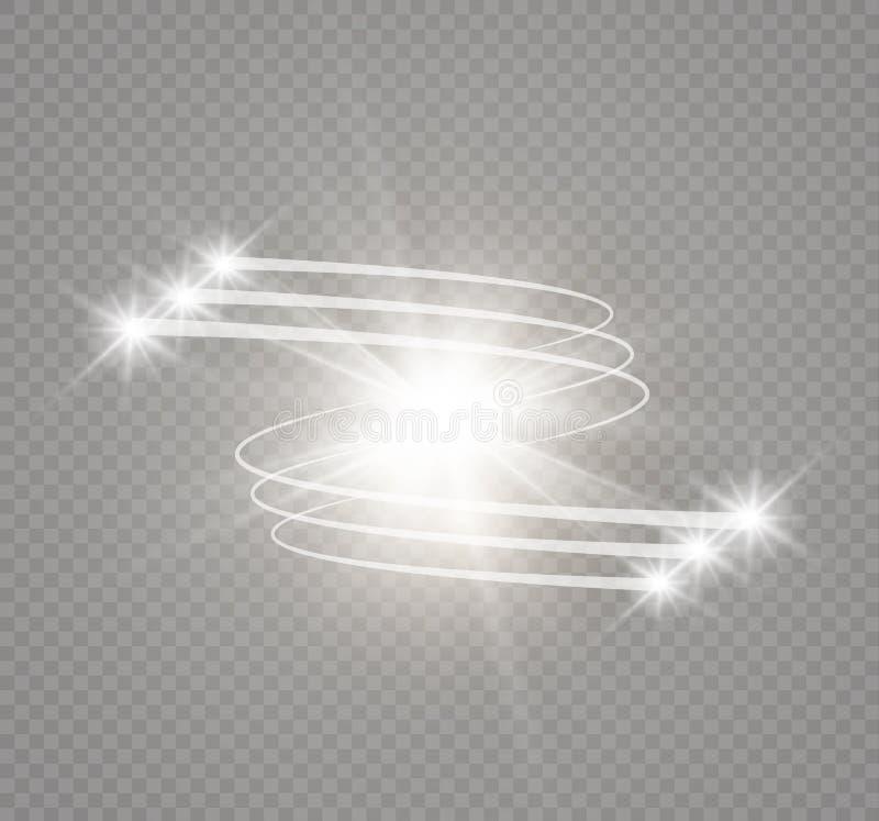Effet de la lumière rougeoyant abstrait d'étoile magique de la tache floue au néon de incurvé illustration libre de droits