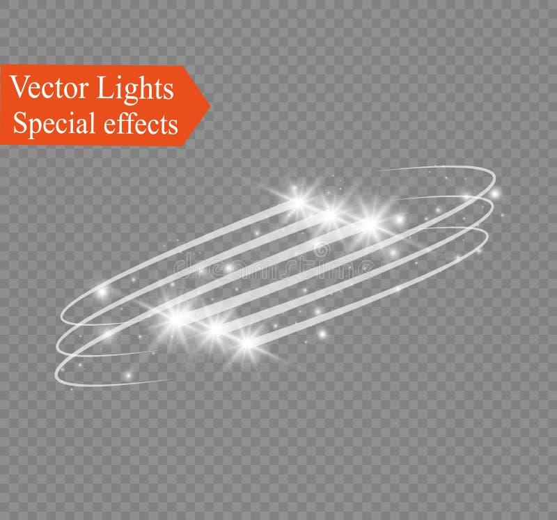 Effet de la lumière rougeoyant abstrait d'étoile magique de la tache floue au néon de incurvé illustration de vecteur