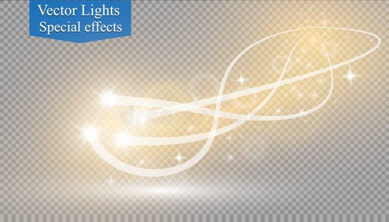 Effet de la lumière rougeoyant abstrait d'étoile magique de la tache floue au néon de incurvé illustration stock