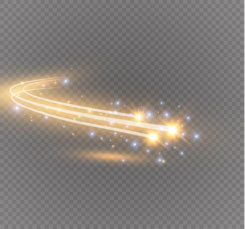 Effet de la lumière rougeoyant d'étoile magique de vecteur abstrait de la tache floue au néon des lignes incurvées illustration libre de droits