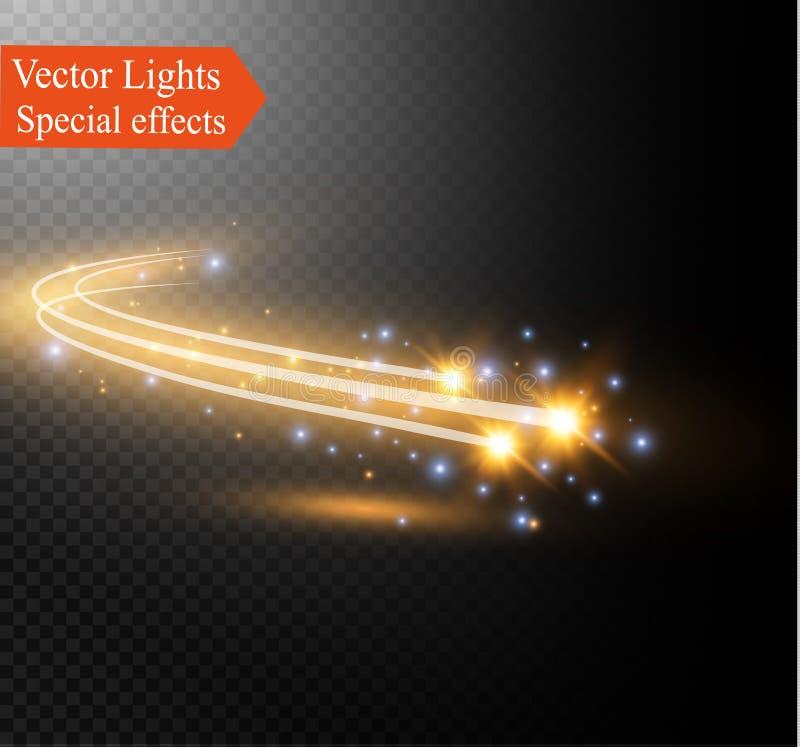 Effet de la lumière rougeoyant d'étoile magique de vecteur abstrait de la tache floue au néon des lignes incurvées illustration stock