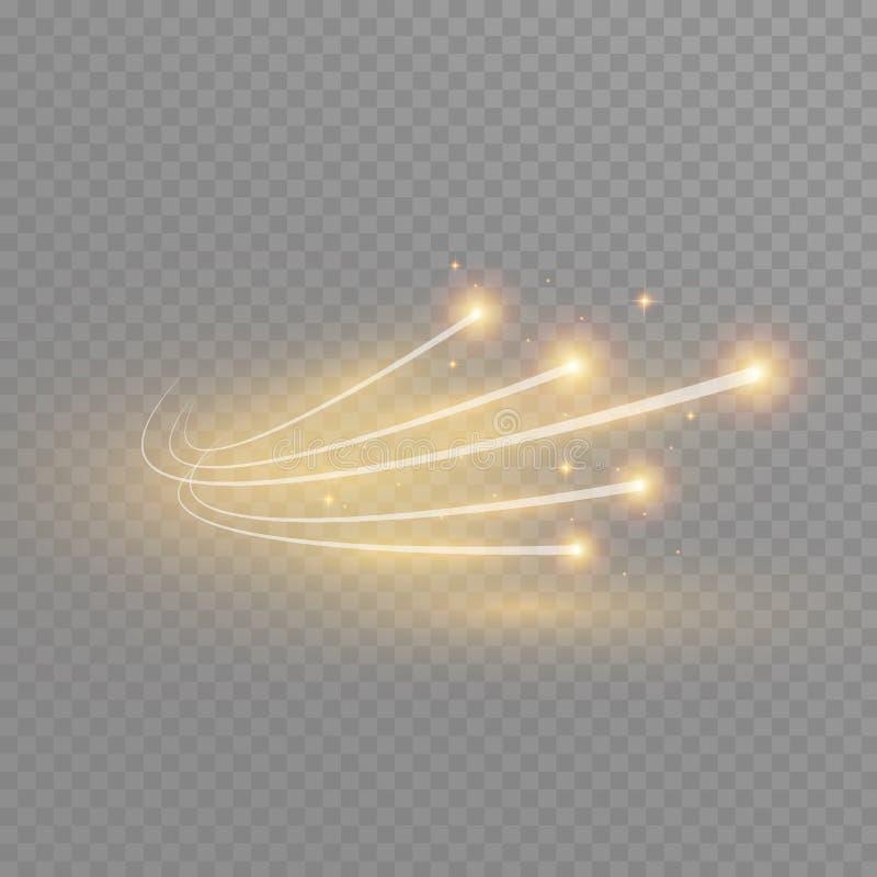 Effet de la lumière rougeoyant d'étoile magique de vecteur abstrait de la tache floue au néon des lignes incurvées Traînée éclata illustration stock