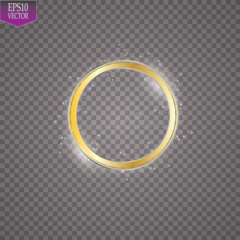 Effet de la lumière de scintillement abstrait de cadre d'or sur le fond transparent Étincelle avec la ligne brillante d'anneau illustration de vecteur