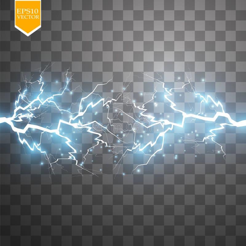 Effet de la lumière spécial d'énergie d'explosion abstraite bleue de choc avec l'étincelle Groupe de foudre de puissance de lueur illustration libre de droits