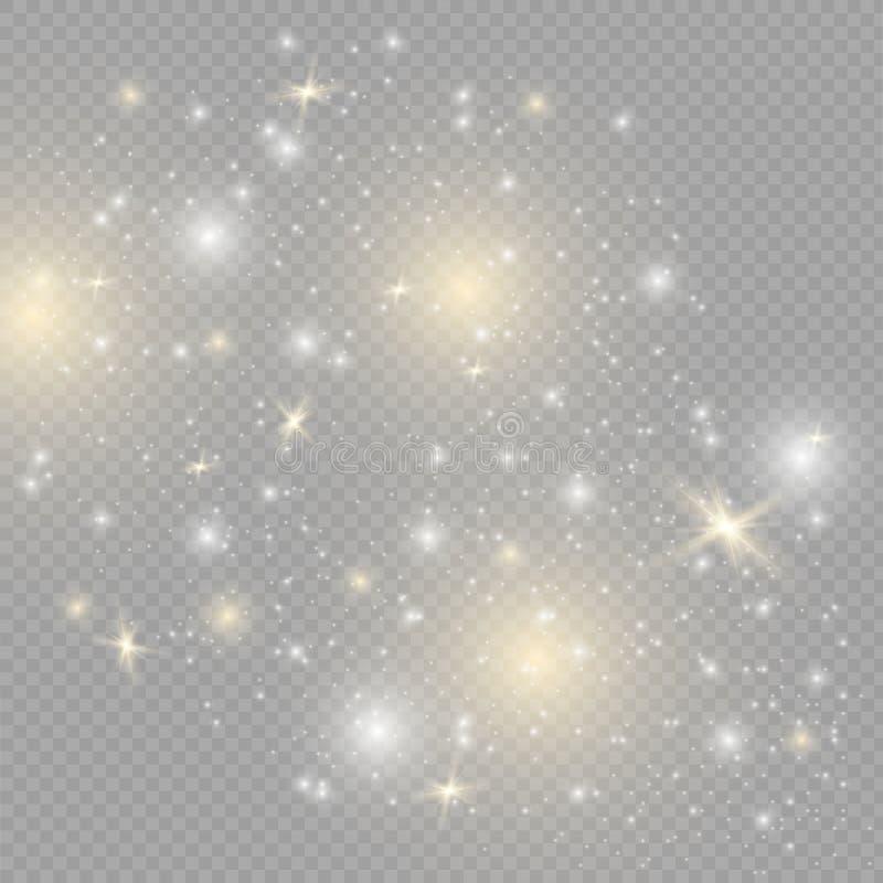 Effet de la lumière spécial de scintillement blanc d'étincelles Le vecteur miroite sur le fond transparent Modèle abstrait de Noë photos stock