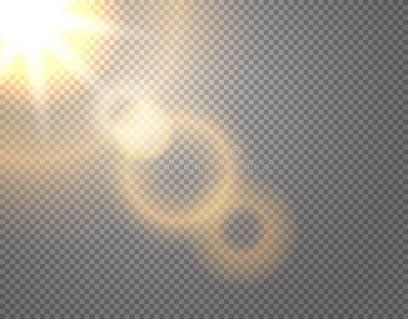 Effet de vecteur de soleil d'isolement sur transparent illustration libre de droits