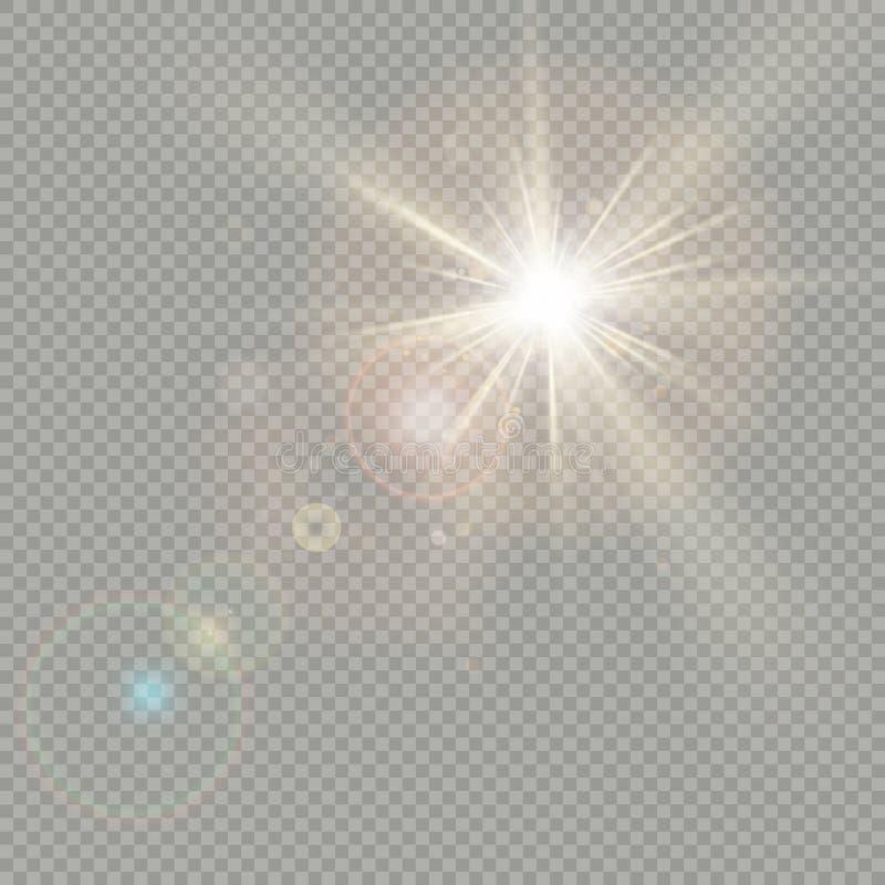 Effet des cercles de bokeh avec l'éclat du soleil Effet de fusée de lentille ENV 10 illustration de vecteur