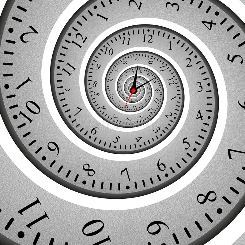 Effet en spirale abstrait de fractale d'horloge, cadran tordu illustration stock