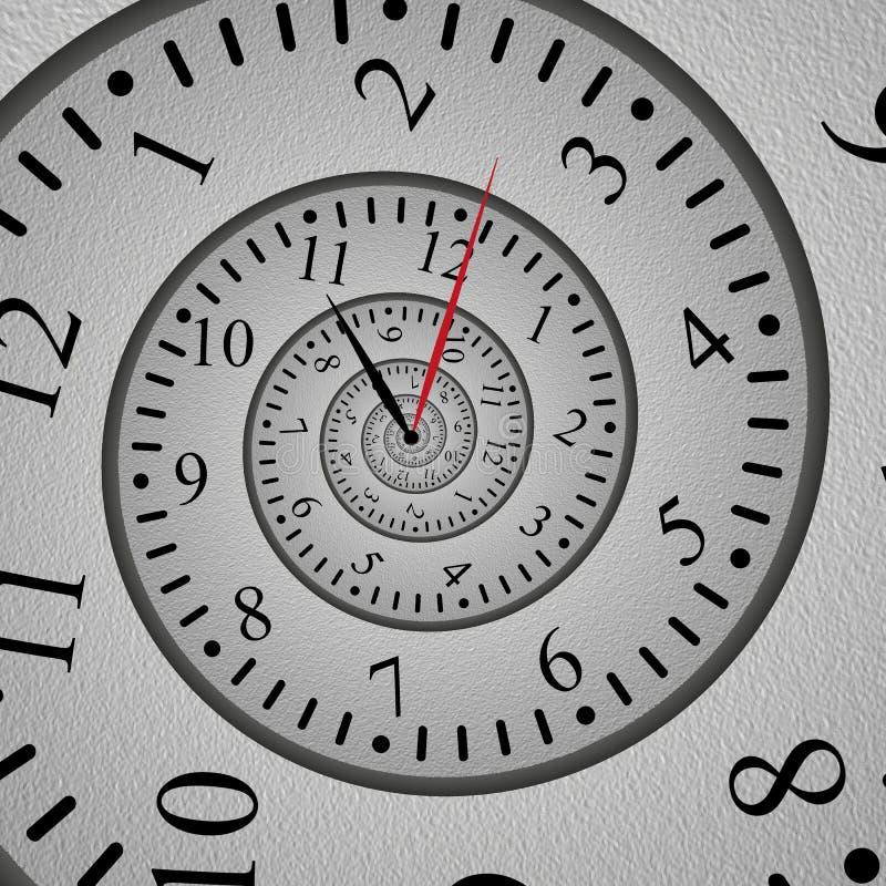 Effet en spirale abstrait de fractale d'horloge, cadran tordu et conception originale illustration libre de droits