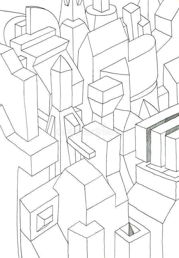 Effet géométrique monochrome des formes 3D illustration de vecteur