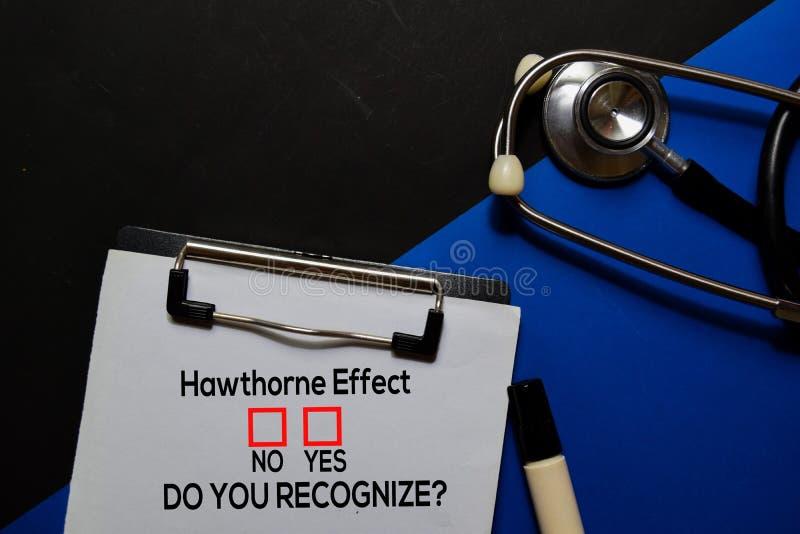 Effet Hawthorne, Est-Ce Que Vous Reconnaissez? Oui ou Non En arrière-plan du bureau photographie stock libre de droits