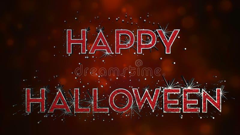 Effet heureux des textes de Halloween 3D - métal et sang illustration de vecteur
