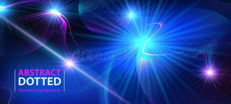 Effet radial au néon bleu futuriste d'éclat de lumière de technologie de résumé Cercles d'éléments de Digital tramés illustration stock