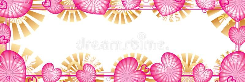 Effet rose CMYK de bannière de point de rayon d'amour illustration de vecteur