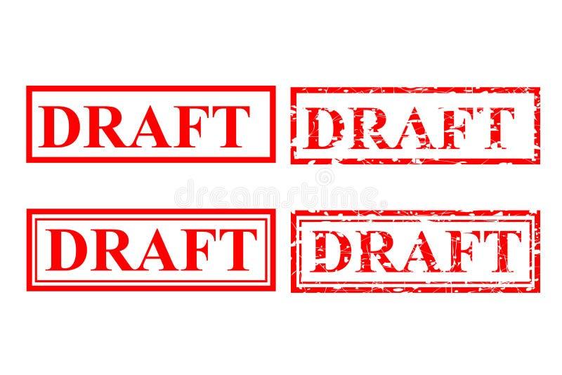 Effet rouge de tampon en caoutchouc de quatre styles, ébauche illustration stock