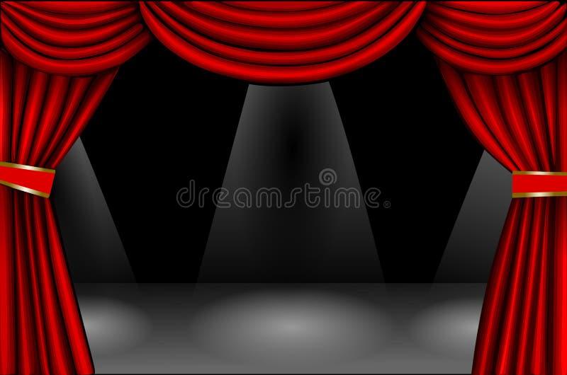 Effet rouge du velours curtain illustration de vecteur