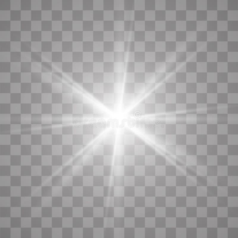 Effet spécial d'épanouissement léger Illustration Le vecteur miroite sur le fond transparent Effet spécial d'épanouissement léger photos libres de droits