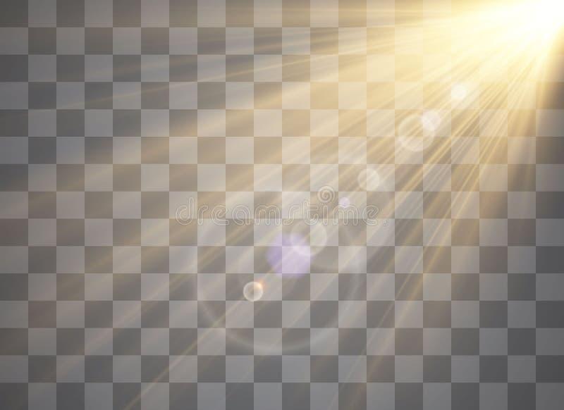 Effet spécial de fusée légère avec des rayons de lumière illustration stock