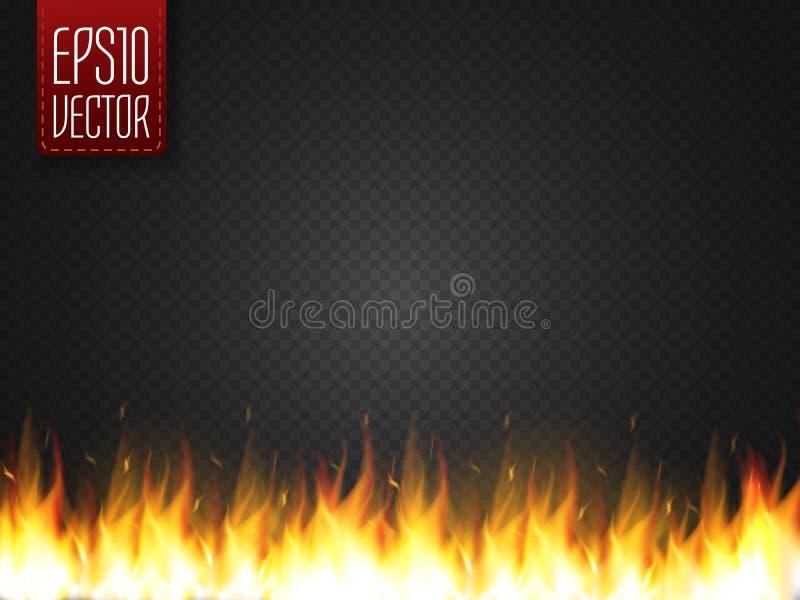 Effet spécial du feu de vecteur réaliste de flamme d'isolement sur le fond transparent illustration stock