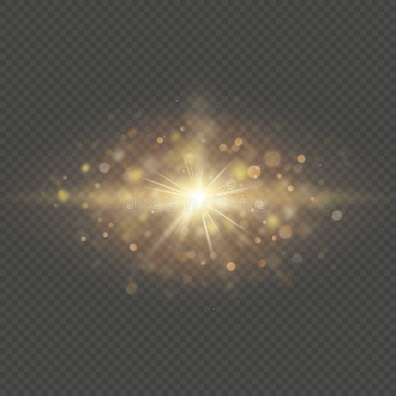 Effet spécial - particules et étincelles brillantes du soleil d'étoile Scintillement et lumières de bokeh de paillettes d'isoleme illustration stock