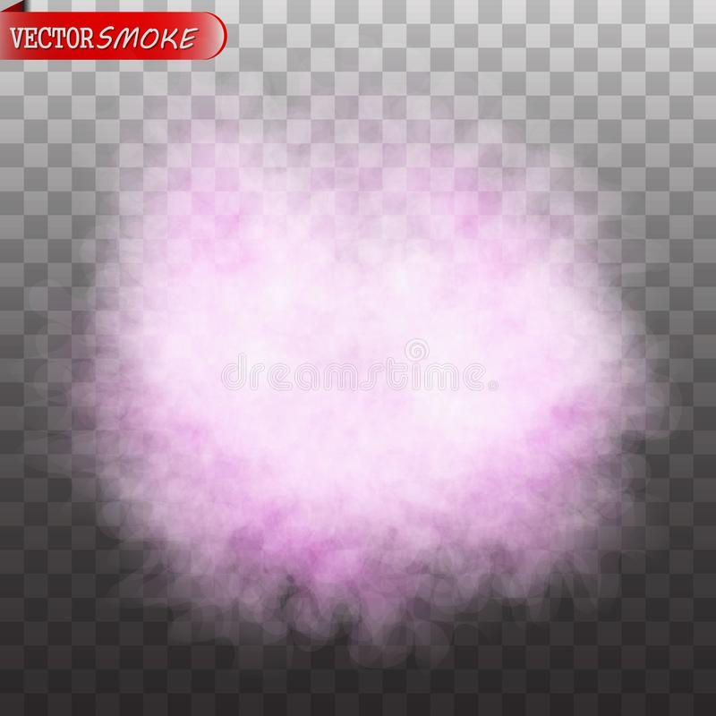 Effet spécial transparent d'isolement par couleur pourpre de brouillard ou de fumée photos libres de droits