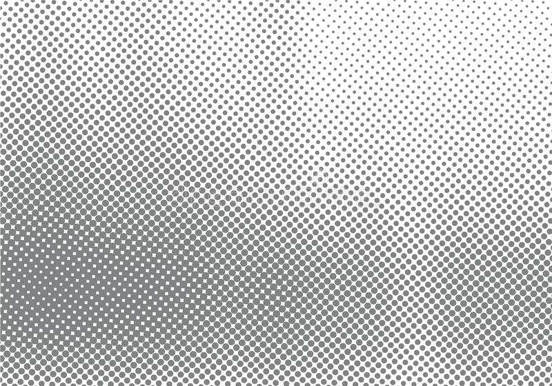 Effet tramé abstrait de mouvement avec le fond et la texture noirs et blancs de effacement de gradation de point illustration stock